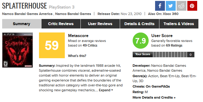 Splatterhouse 2010 | Metacritic