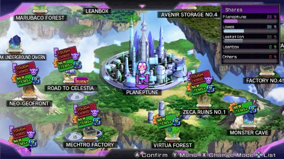 Hyperdimension Neptunia Re;birth1 | Overworld map