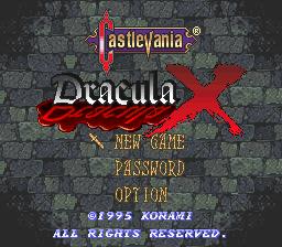Castlevania: Dracula X | Title screen