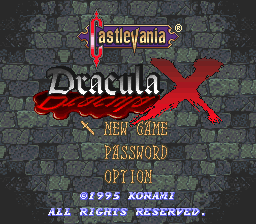 Castlevania: Dracula X | Title screen